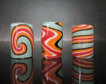 Full color #02 - Taffy, Three styles and 6 sizes to choose from, Spiral - Wig wag - Twist, Hand Blown Glass Dread Lock Bead