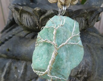 "Wire Wrapped Tree on Raw Green Amazonite - 30"" Extra Long Hemp Necklace - Step up that necklace game!"