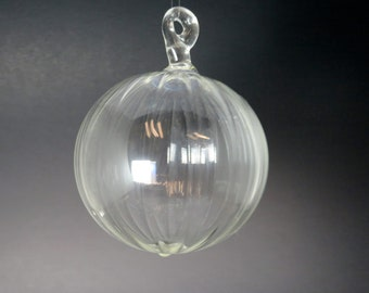 Glass ball -Clear scalloped - Decorative Hand Blown Glass Christmas Ornament, Glass Christmas Tree Decorations, Holiday Gift,  #CO155