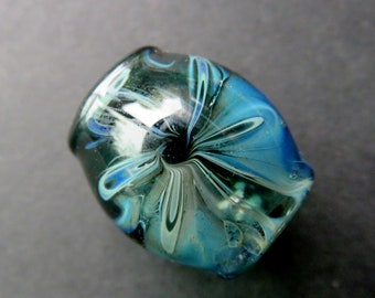 Fume Flower, Teal - 10 mm bead hole - Hand Blown glass Dread Bead, Dread locks Hair Accessories