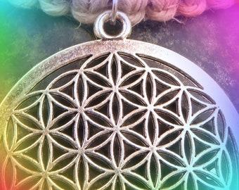 Silver Flower of life Hemp Necklace, Adjustable length, sacred geometry pendant.