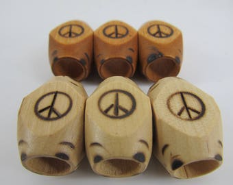 Peace sign wood burned  dread bead  Light or Dark 9 mm bead hole