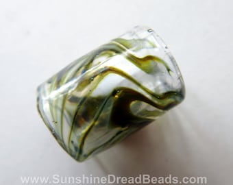Green Exotic  - 9mm bead hole - Hand Blown Glass Dread Bead, Large Hole Beads for Hemp Jewelry or Dreadlocks
