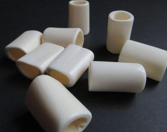 Plain Bone Dread Bead - 6mm - 14mm bead holes -