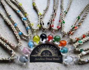 Mushroom Hemp Necklace, Choose you color & knot style, Hippy Hemp Jewelry, Mushroom Pendant, HAnd blown glass mushroom pendant hemp necklace