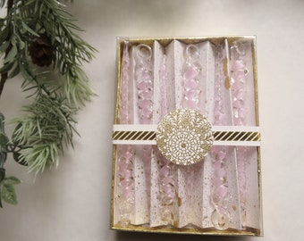 Icicles -6 pack- Pink, Hand blown Glass Icicles with gift storage box, Glass Christmas Tree Ornaments, Sun catcher Window decorations