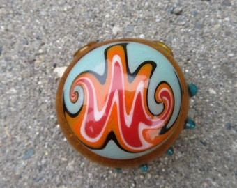 Hollow pendant - Amber glass with fire colors and teal accents - Heady Switch back spiral made from boro glass