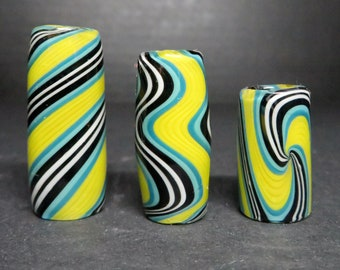 Full color #31 - Banana Rama, Three styles and 6 sizes to choose from, Spiral - Wig wag - Twist, Hand Blown Glass Dread Lock Bead