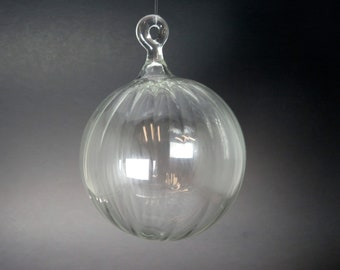 Glass Ball - Clear Scalloped - Victorian Style Hand Blown Glass Christmas Ornament, Glass Christmas Tree Decorations, Holiday Gift,  #CO153