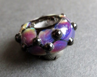 Purple and Black Dots - 6 mm bead hole - Hand blown glass dread bead,  Beads for Dreadlocks