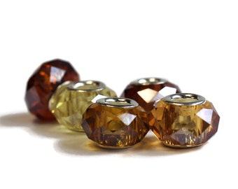 Topaz Dreadlock Beads // Set of 5 beads - 6mm ID beads hole // Beads for Dreadlocks, Loc Jewelry, Hair Beads, Dread Beads, Hair Jewelry, 573