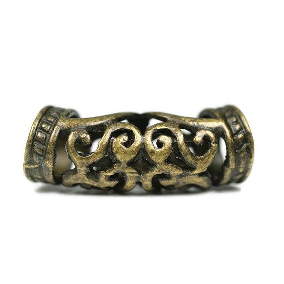 Antique Scroll Arch Dreadlock Bead - 7mm bead hole - Large Hole Beads for Jewelry, Flower dread bead, Hair, Braids, Dreadlocks, 4e002