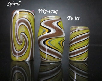 Full color #03 - Forest Spirit 10mm Spiral - 10mm Wig wag - 8mm Twist, Hand Blown Glass Dread Lock Bead