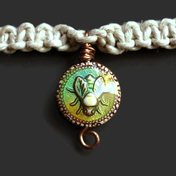Honey Bee - Hemp Necklace - Color Changing Mood Bee Bead - Glass accent Beads-  Hand Tied Hemp Necklace