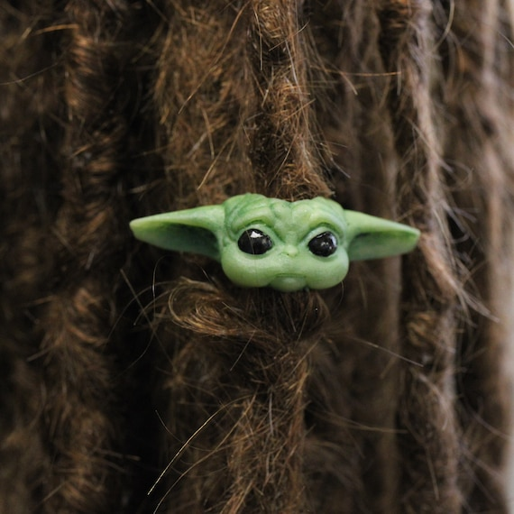 Baby Yoda Dreadlock Bead / CUSTOM Bead Hole Size  / Dreadlock Accessories, Loc Beads, Dreadlock Jewelry, Paracord Beads, 4D039