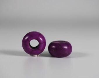 Purple Howlite Dread Beads // 6mm Bead Hole - 2 pack // Rainbow Dread Bead, Rainbow Dreadlock Bead, Dread Jewelry,  Dread Accessories, 6A29