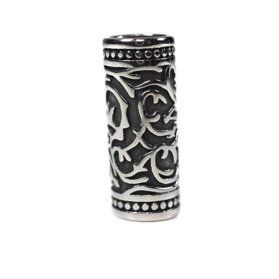 Vine Dreadlock Beads // 7mm Bead Hole - Stainless Steel // Viking Beard Beads, Hair beads, Loc Jewelry, Paracord Bead, 4E008