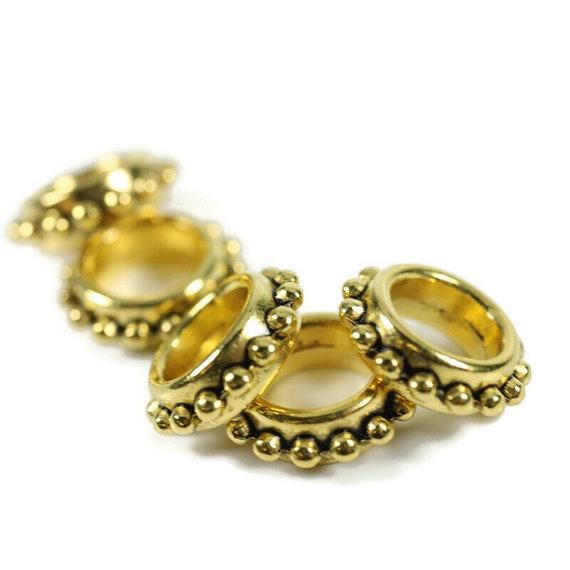5 Gold Stackable Dreadlock Bead - 7mm bead hole - Large Hole Beads for Jewelry, Flower dread bead, Hair, Braids, Dreadlocks, & Beards, 4D064