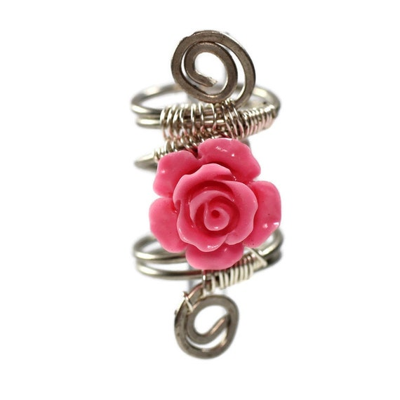 Rose Dread Bead coil - 10mm bead hole - Shell Dread Beads, Dreadlock Bead, Dread Coil, Dread Lock Accessories, Copper Dread Coil