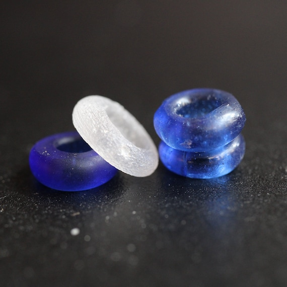 4, 4mm, Cobalt & White Glass Dread Beads - 4mm Bead Hole - Vintage African Trade Beads , Dread Jewelry, Dread Accessories, Loc Beads