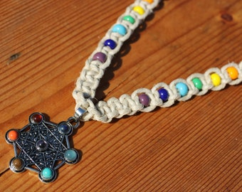 Metatron's cube Hemp Choker with Rainbow Chakra Spacer Beads - Hippy Hemp Jewelry, Sacred Geometry hemp necklaceHemp Jewelry, Hippy Hemp