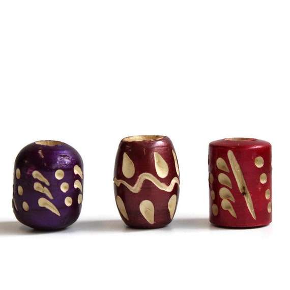 3 pack Wood, dread or beard beads - 7mm bead hole for Small size dreads - lacquered and carved - Burgundy and Purple - Wood Beads Pack #004