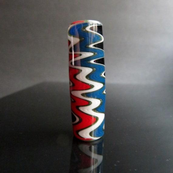 Grateful Dead lighting bolt glass dread bead, CUSTOM Hand blown glass dread beads, American flag colors, shakedown street