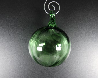Glass Ball - Transparent Green - Hand Blown Glass Christmas Ornament, Tree Decorations
