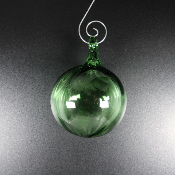 Glass Ball - Transparent Green - Hand Blown Glass Christmas Ornament, Tree Decorations