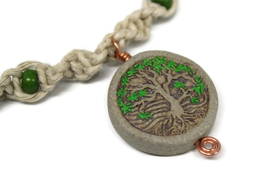 Tree of life - Hemp Necklace - Ceramic Bead with Colored leaves - Hand Painted Pendant -  Hand Tied Hemp Necklace