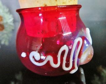 Red glass Jar with 99.9% silver fume cabochon, Herb Jar, Nug Jug, Ring jar,  Medicine bag, Memorial Jar for ashes