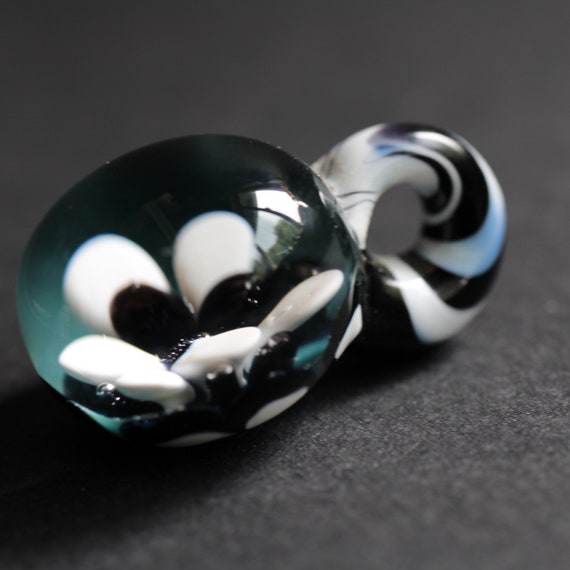 Flower Implosion, Black, White and Teal - Hand Blown Glass Bead Set - Glass Beads for Jewelry making - Large Hole Beads for Hemp Jewelry