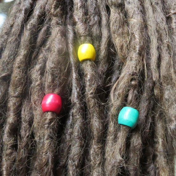 6 pack Wood dread beads, rasta colors, red, yellow, green - wood pack #021