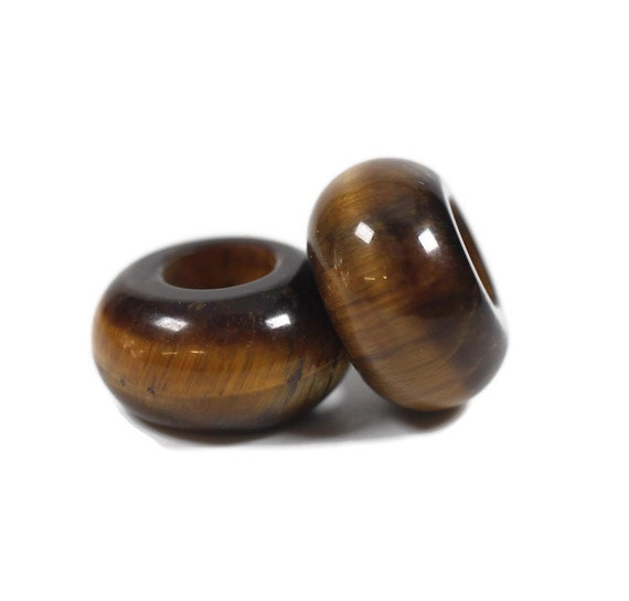 Tigers Eye Dread Bead / Set of 2 beads - 6mm bead hole / Dreadlock Beads, Hair jewelry, Dread Jewelry, Dread Accessories, Loc Jewelry, 4D045
