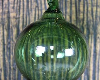 Glass Ball Ornament - Green - Hand Blown Glass Christmas Ornament, Glass Christmas Tree Decorations, Glass Christmas Ball, Glass Float