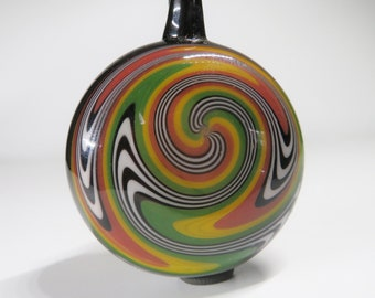 Hollow Stash Pendant with Rasta Switchback Spiral -  You can put things in the pendant! - Hedy Glass Necklace, Necklace Game
