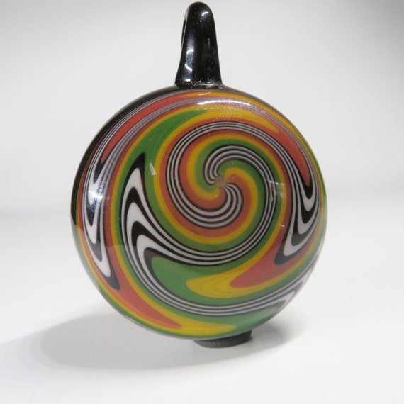 Hollow Stash Pendant with Rasta Switchback Spiral -  You can put things in the pendant! -