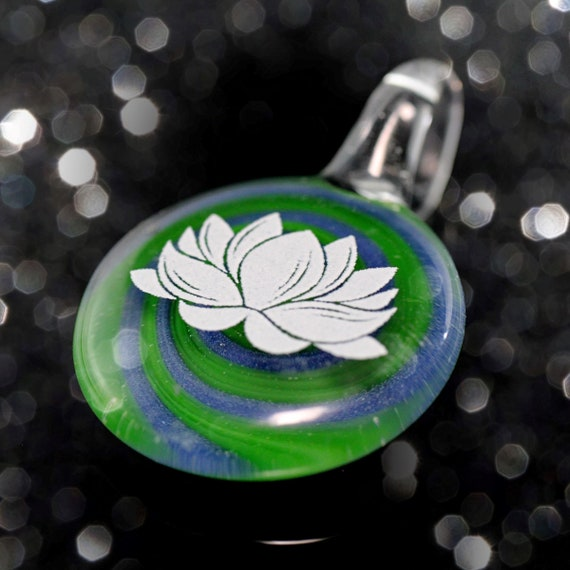 Glass Lotus Flower Pendant with Spiral Background, White Lotus Flower Necklace, Lampworked Glass Pendant Jewelry, Flameworked Beads
