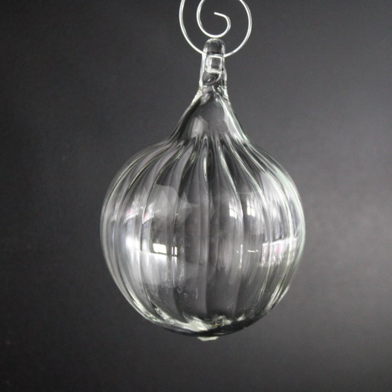 Glass Ball Ornament - Clear Scallop - Hand Blown Glass Christmas Ornament, Glass Christmas Ball, Holiday Gift, Victorian Christmas