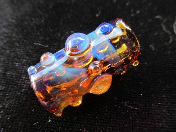 Dot Cross - CUSTOM - Choose your color and bead size,  Hand Blown Glass Dread Bead, Dreadlock Bead