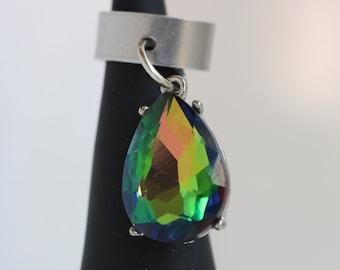 Rainbow Teardrop Charm Dread Cuff - 10 mm bead hole - Metal Dread Bead, Dreadlock Accessories, Hair Jewelry, Dread Lock Jewelry, 5B001