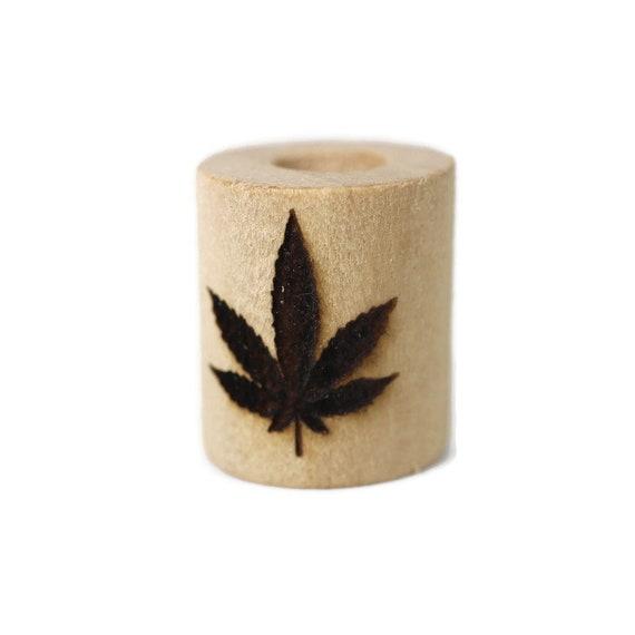 Marijuana Leaf Wood Dread Bead // 6 - 8 mm Bead Hole // Dreadlock Bead, Loc Jewelry, Dreadlock Accessories, Dread Jewelry