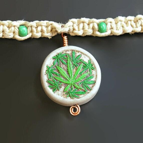 MArijuana Pendant Hemp Necklace - Stoner Jewelry - Festival Gear - Hippy Garb - Wook jewelry - Pot leaf hemp necklace -