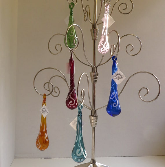 Scroll Work on Tear Drop - 6 Colors to Choose From! - Hand Blown Glass Christmas Ornament, Tree Decorations, Christmas Ornaments