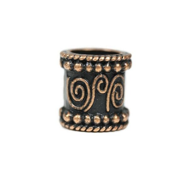 Copper Spiral Dreadlock Bead - 9 mm bead hole - Copper Dread Bead, Dreadlock Accessories, Loc Beads, Dread Jewelry, 4E002