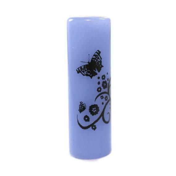Butterfly Garden Dread Bead - Blue - 8 mm bead hole - Glass Dreadlock Bead, Lampworked Bead, Loc bead, Loc Accessories, Dread Jewelry