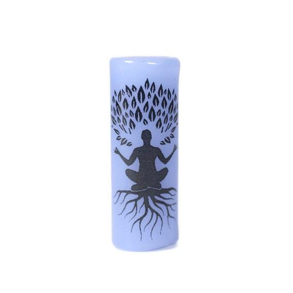 Yoga Pose Glass Dread Bead - CUSTOM Color & Hole Size - Glass Dreadlock Bead, Loc Accessories, Dread Jewelry, 5U002 MTO