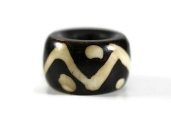 Wave Bone Dread Bead // 6 - 12mm Bead Holes // Dreadlock Beads, Dread Jewelry, Dread Accessories, Large Hole Beads, Hair Beads, 4D002