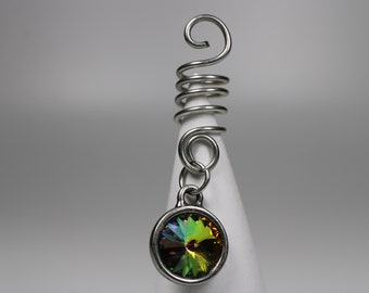 Rainbow Crystal Dread Cuff - Available in 6 to 12 mm bead holes - Dread Beads, Dreadlock Accessories, Hair Jewelry, 5B001