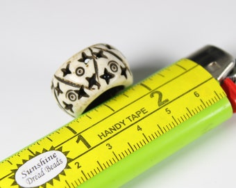 Bone Dread Bead - 14mm bead hole - Large hole Bead for dreadlocks or chunky hemp jewelry bead, 4C003 #1019